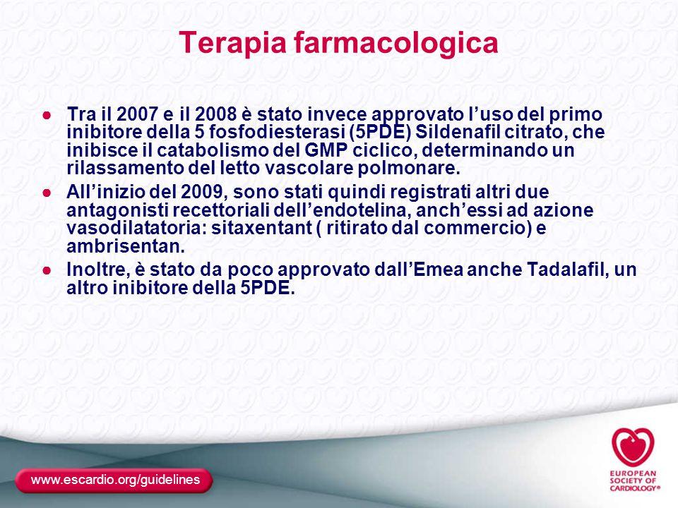 www.escardio.org/guidelines Terapia farmacologica ●Tra il 2007 e il 2008 è stato invece approvato l'uso del primo inibitore della 5 fosfodiesterasi (5