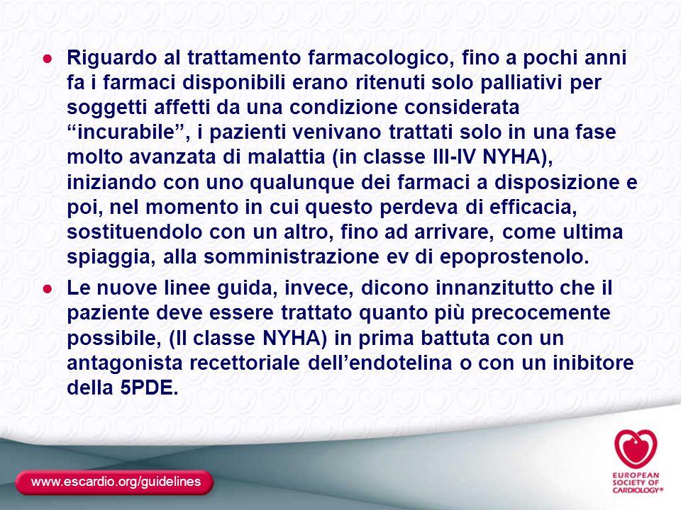 www.escardio.org/guidelines ●Riguardo al trattamento farmacologico, fino a pochi anni fa i farmaci disponibili erano ritenuti solo palliativi per sogg