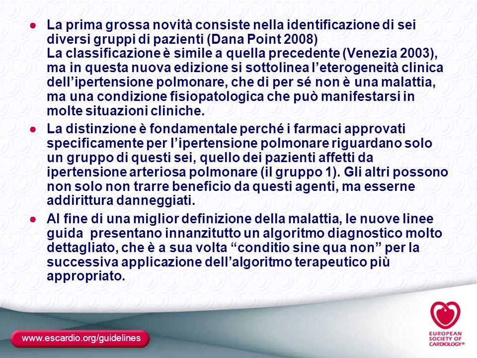 ●La prima grossa novità consiste nella identificazione di sei diversi gruppi di pazienti (Dana Point 2008) La classificazione è simile a quella preced