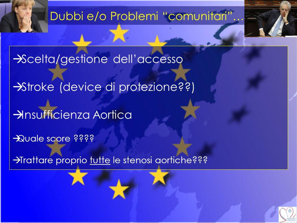"""Dubbi e/o Problemi """"comunitari""""….  Scelta/gestione dell'accesso  Stroke (device di protezione??)  Insufficienza Aortica  Quale score ????  Tratta"""