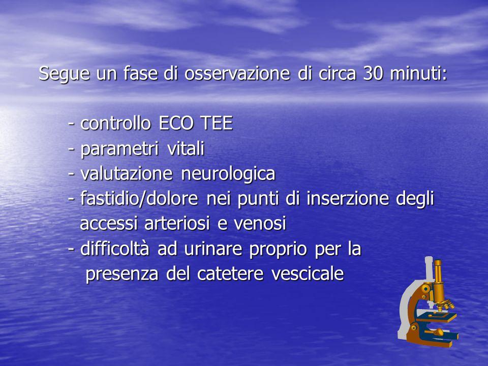 Segue un fase di osservazione di circa 30 minuti: - controllo ECO TEE - controllo ECO TEE - parametri vitali - parametri vitali - valutazione neurologica - valutazione neurologica - fastidio/dolore nei punti di inserzione degli - fastidio/dolore nei punti di inserzione degli accessi arteriosi e venosi accessi arteriosi e venosi - difficoltà ad urinare proprio per la - difficoltà ad urinare proprio per la presenza del catetere vescicale presenza del catetere vescicale