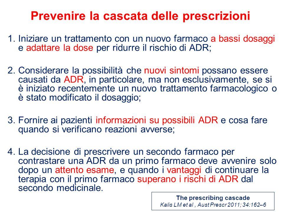 1.Iniziare un trattamento con un nuovo farmaco a bassi dosaggi e adattare la dose per ridurre il rischio di ADR; 2.Considerare la possibilità che nuovi sintomi possano essere causati da ADR, in particolare, ma non esclusivamente, se si è iniziato recentemente un nuovo trattamento farmacologico o è stato modificato il dosaggio; 3.Fornire ai pazienti informazioni su possibili ADR e cosa fare quando si verificano reazioni avverse; 4.La decisione di prescrivere un secondo farmaco per contrastare una ADR da un primo farmaco deve avvenire solo dopo un attento esame, e quando i vantaggi di continuare la terapia con il primo farmaco superano i rischi di ADR dal secondo medicinale.