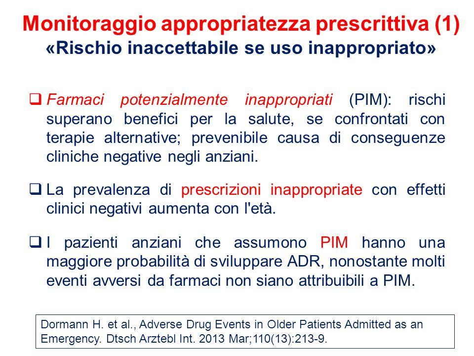  Farmaci potenzialmente inappropriati (PIM): rischi superano benefici per la salute, se confrontati con terapie alternative; prevenibile causa di conseguenze cliniche negative negli anziani.