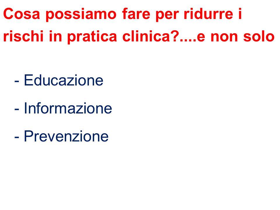 Cosa possiamo fare per ridurre i rischi in pratica clinica?....e non solo - Educazione - Informazione - Prevenzione