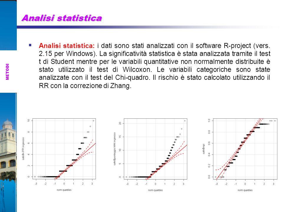 Analisi statistica  Analisi statistica: i dati sono stati analizzati con il software R-project (vers.