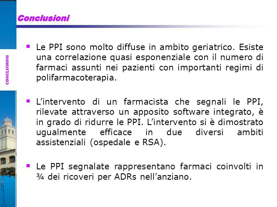 Conclusioni  Le PPI sono molto diffuse in ambito geriatrico.