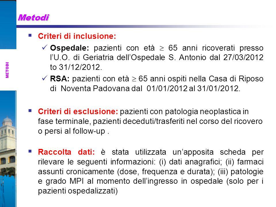 Metodi METODI  Criteri di inclusione: Ospedale: pazienti con età  65 anni ricoverati presso l'U.O.