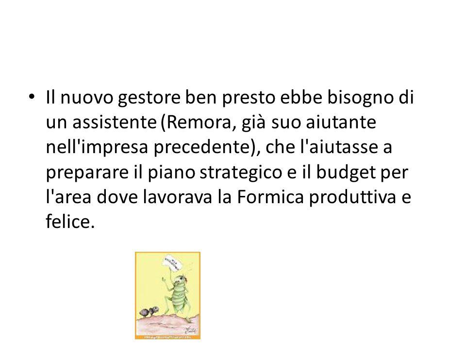 Il nuovo gestore ben presto ebbe bisogno di un assistente (Remora, già suo aiutante nell'impresa precedente), che l'aiutasse a preparare il piano stra