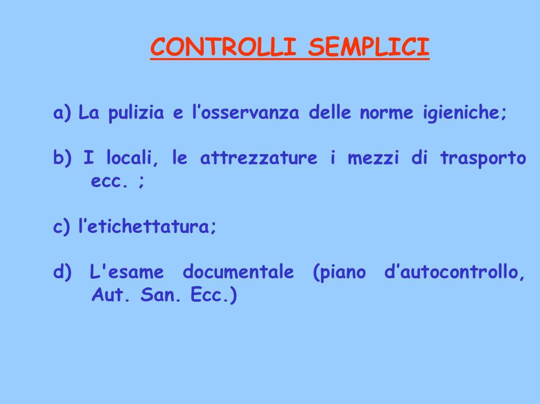 CONTROLLI SEMPLICI a) La pulizia e l'osservanza delle norme igieniche; b) I locali, le attrezzature i mezzi di trasporto ecc. ; c) l'etichettatura; d)