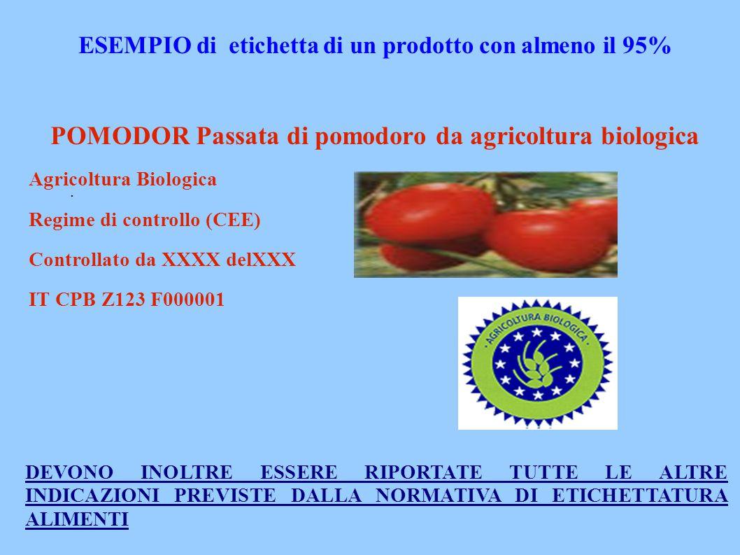 . ESEMPIO di etichetta di un prodotto con almeno il 95% POMODOR Passata di pomodoro da agricoltura biologica Agricoltura Biologica Regime di controllo