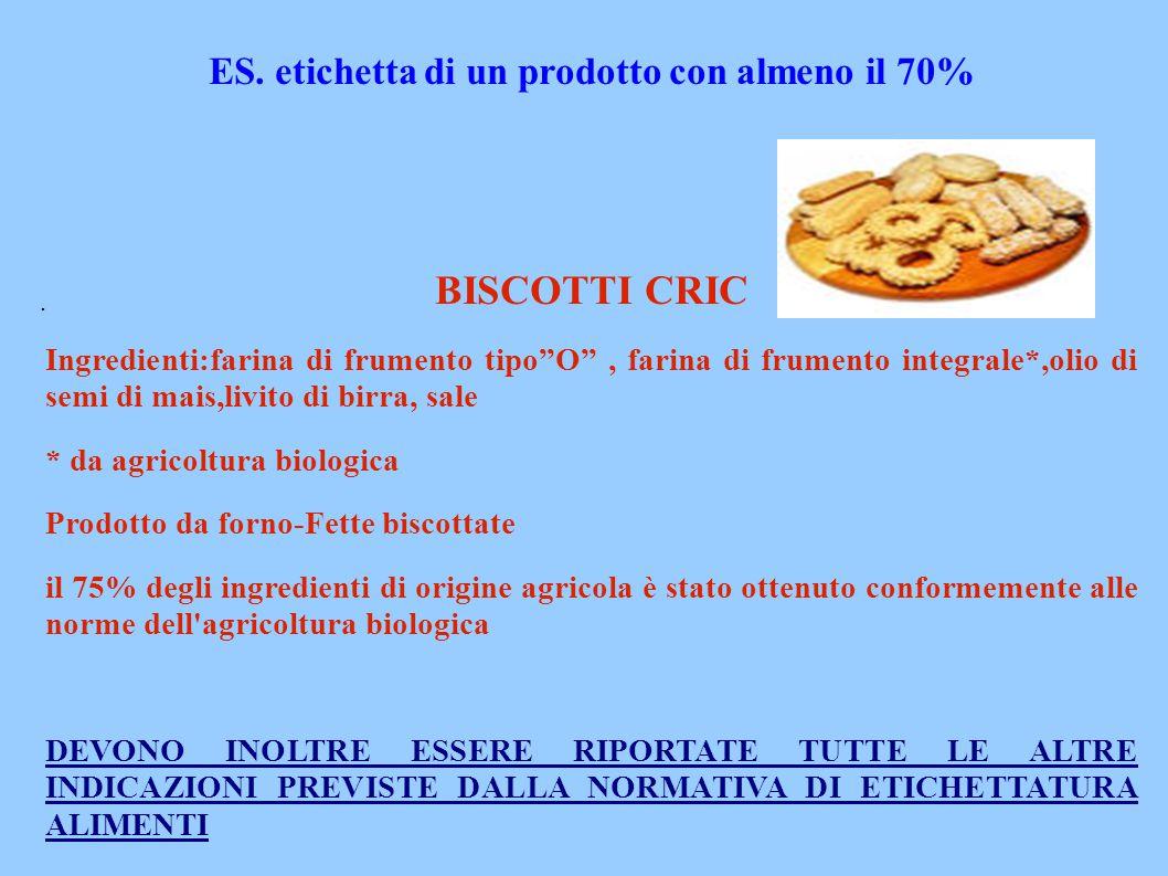 """. ES. etichetta di un prodotto con almeno il 70% BISCOTTI CRIC Ingredienti:farina di frumento tipo""""O"""", farina di frumento integrale*,olio di semi di m"""
