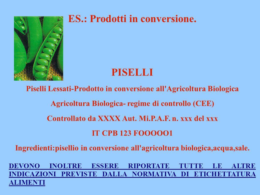 . ES.: Prodotti in conversione. PISELLI Piselli Lessati-Prodotto in conversione all'Agricoltura Biologica Agricoltura Biologica- regime di controllo (