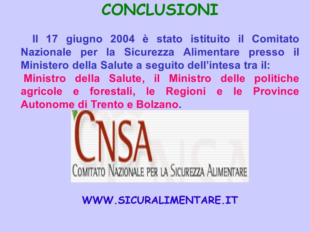 CONCLUSIONI Il 17 giugno 2004 è stato istituito il Comitato Nazionale per la Sicurezza Alimentare presso il Ministero della Salute a seguito dell'inte