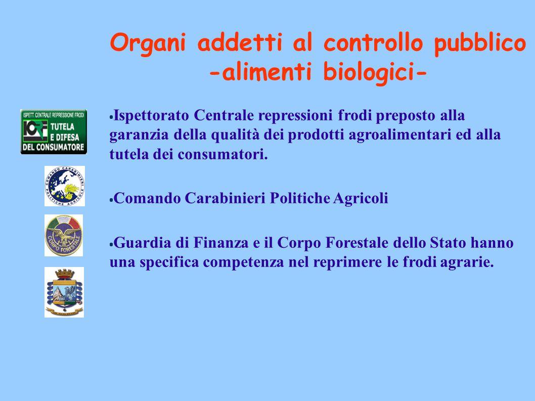 Organi addetti al controllo pubblico -alimenti biologici-  Ispettorato Centrale repressioni frodi preposto alla garanzia della qualità dei prodotti a