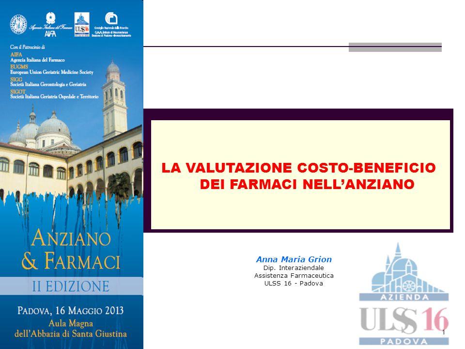 1 LA VALUTAZIONE COSTO-BENEFICIO DEI FARMACI NELL'ANZIANO Anna Maria Grion Dip. Interaziendale Assistenza Farmaceutica ULSS 16 - Padova