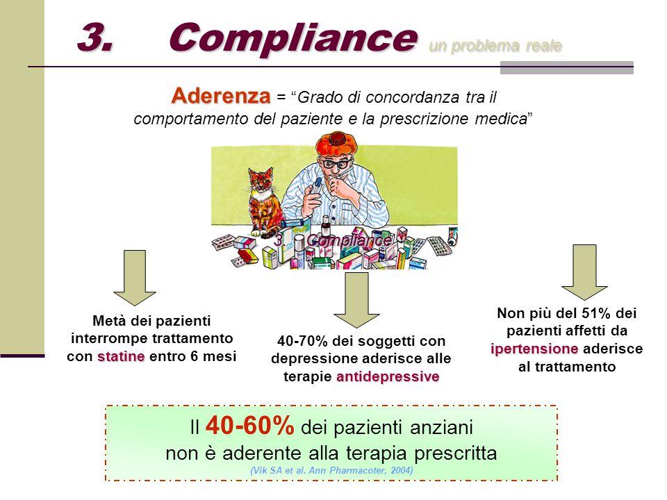 """Il 40-60% dei pazienti anziani non è aderente alla terapia prescritta (Vik SA et al. Ann Pharmacoter, 2004) Aderenza Aderenza = """"Grado di concordanza"""