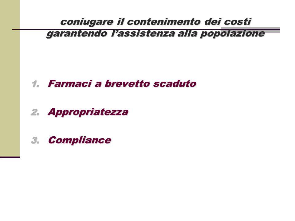 coniugare il contenimento dei costi garantendo l'assistenza alla popolazione 1. Farmaci a brevetto scaduto 2. Appropriatezza 3. Compliance