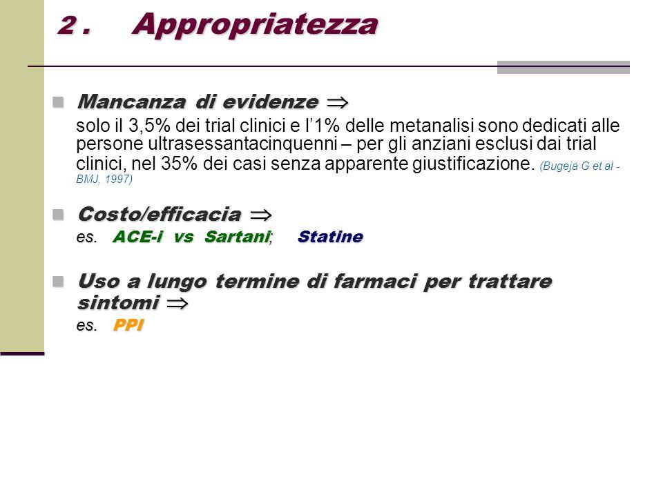 Mancanza di evidenze  Mancanza di evidenze  solo il 3,5% dei trial clinici e l'1% delle metanalisi sono dedicati alle persone ultrasessantacinquenni