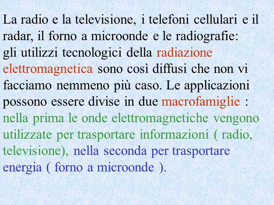 La radio e la televisione, i telefoni cellulari e il radar, il forno a microonde e le radiografie: gli utilizzi tecnologici della radiazione elettroma