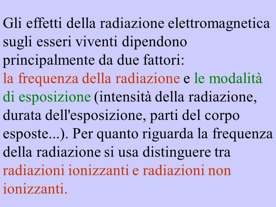 Gli effetti della radiazione elettromagnetica sugli esseri viventi dipendono principalmente da due fattori: la frequenza della radiazione e le modalit