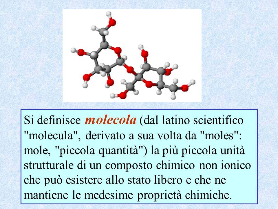 Si definisce molecola (dal latino scientifico