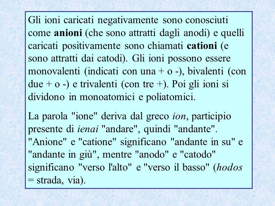 Gli ioni caricati negativamente sono conosciuti come anioni (che sono attratti dagli anodi) e quelli caricati positivamente sono chiamati cationi (e s