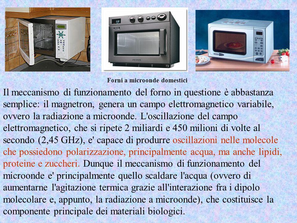Forni a microonde domestici Il meccanismo di funzionamento del forno in questione è abbastanza semplice: il magnetron, genera un campo elettromagnetic