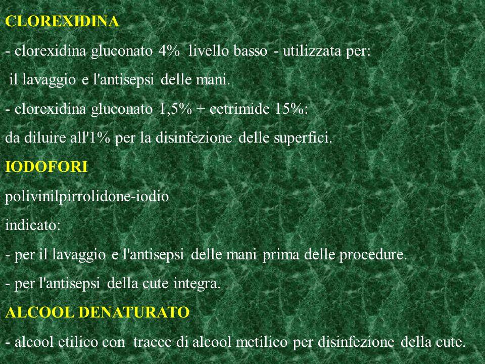 CLOREXIDINA - clorexidina gluconato 4% livello basso - utilizzata per: il lavaggio e l'antisepsi delle mani. - clorexidina gluconato 1,5% + cetrimide