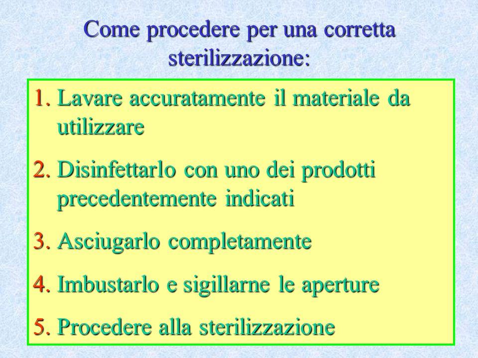 Come procedere per una corretta sterilizzazione: 1.Lavare accuratamente il materiale da utilizzare 2.Disinfettarlo con uno dei prodotti precedentement