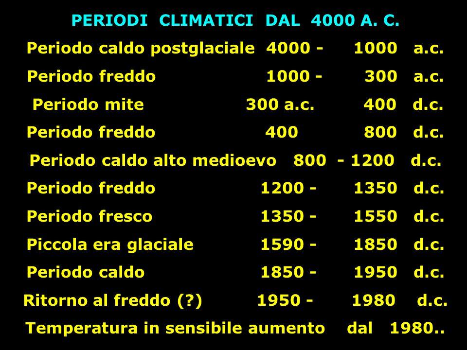 PERIODI CLIMATICI DAL 4000 A. C. Periodo caldo postglaciale 4000 -1000 a.c. Periodo freddo 1000 - 300 a.c. Periodo mite 300 a.c. 400 d.c. Periodo fred