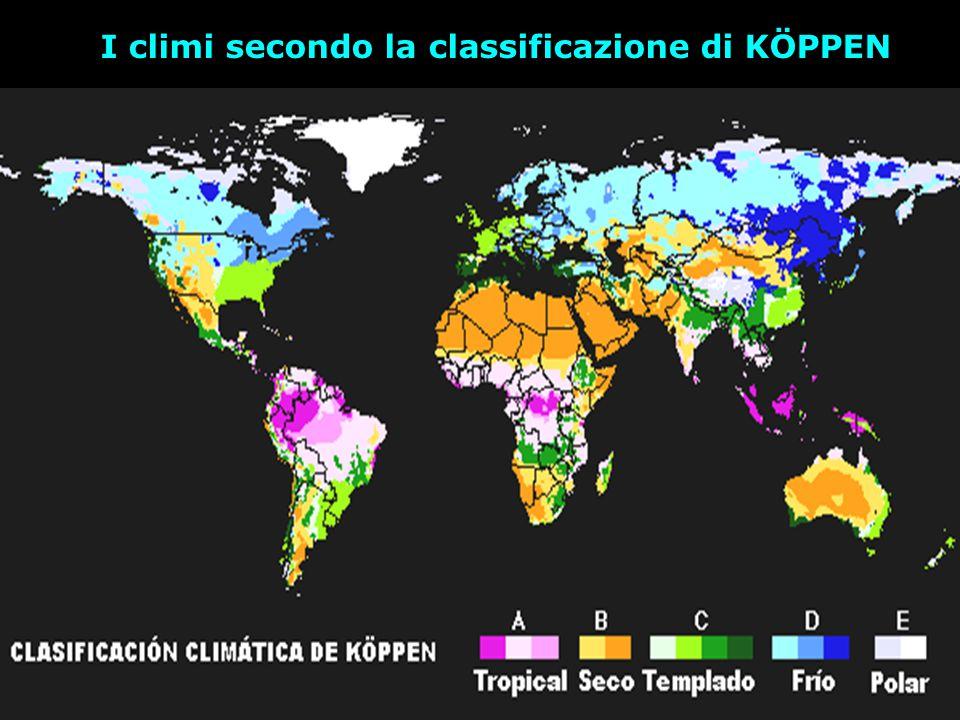 I climi secondo la classificazione di KÖPPEN