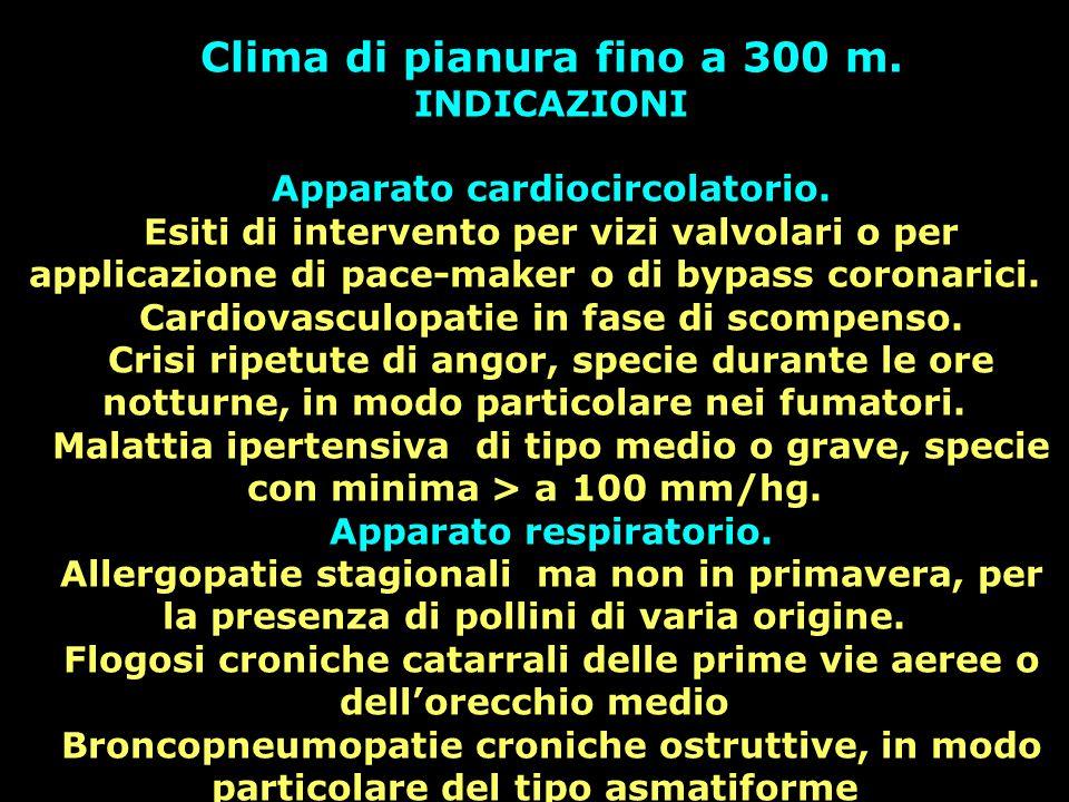 Clima di pianura fino a 300 m. INDICAZIONI Apparato cardiocircolatorio. Esiti di intervento per vizi valvolari o per applicazione di pace-maker o di b