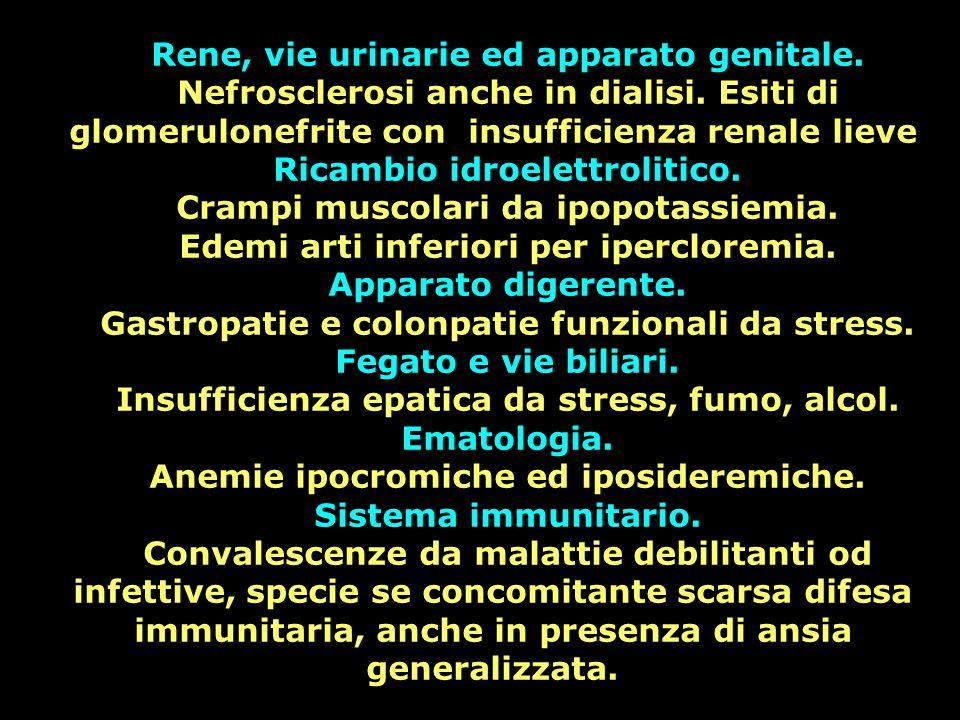 Rene, vie urinarie ed apparato genitale. Nefrosclerosi anche in dialisi. Esiti di glomerulonefrite con insufficienza renale lieve Ricambio idroelettro