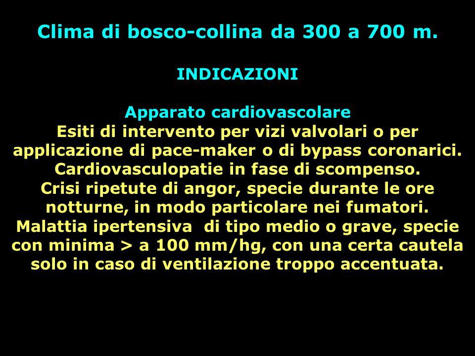 Clima di bosco-collina da 300 a 700 m. INDICAZIONI Apparato cardiovascolare Esiti di intervento per vizi valvolari o per applicazione di pace-maker o