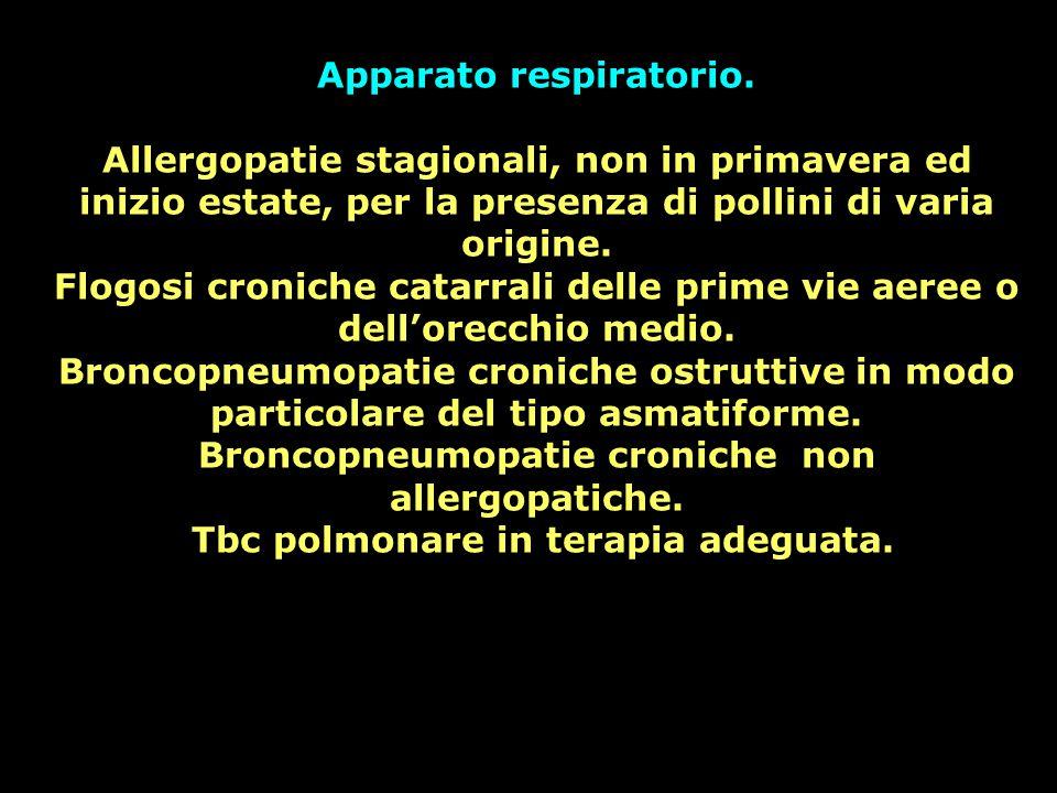 Apparato respiratorio. Allergopatie stagionali, non in primavera ed inizio estate, per la presenza di pollini di varia origine. Flogosi croniche catar