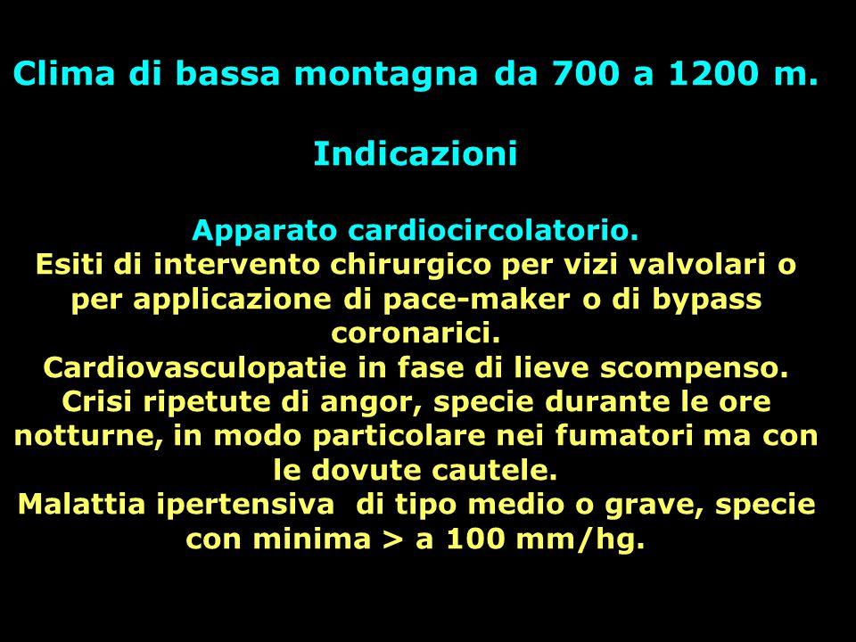 Clima di bassa montagna da 700 a 1200 m. Indicazioni Apparato cardiocircolatorio. Esiti di intervento chirurgico per vizi valvolari o per applicazione