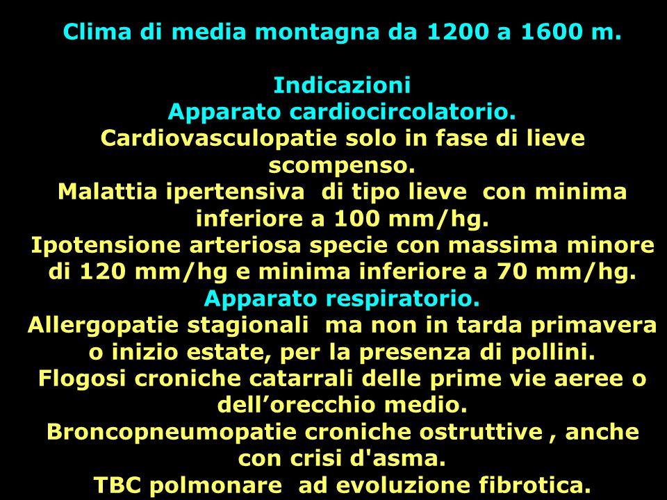 Clima di media montagna da 1200 a 1600 m. Indicazioni Apparato cardiocircolatorio. Cardiovasculopatie solo in fase di lieve scompenso. Malattia iperte