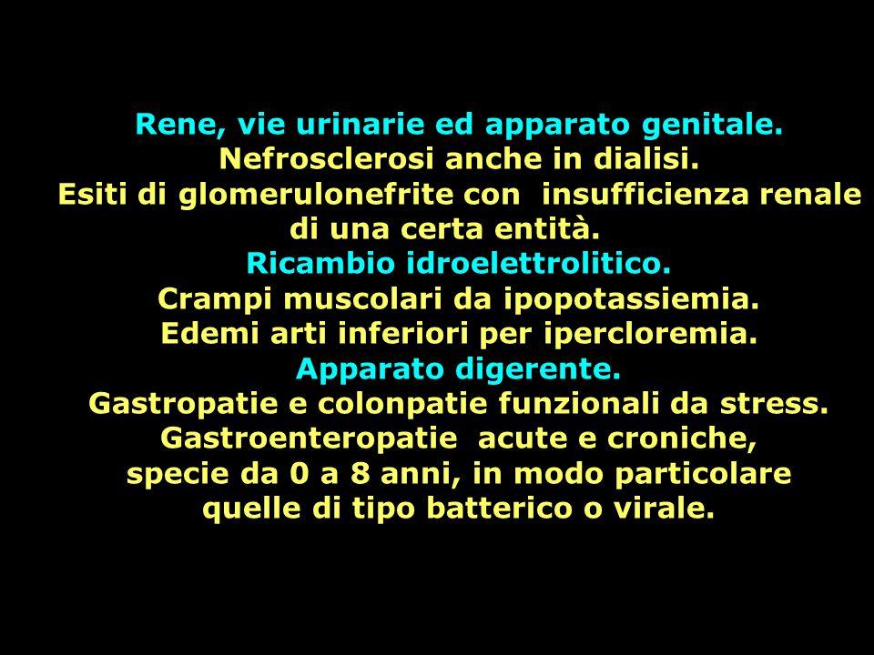 Rene, vie urinarie ed apparato genitale. Nefrosclerosi anche in dialisi. Esiti di glomerulonefrite con insufficienza renale di una certa entità. Ricam