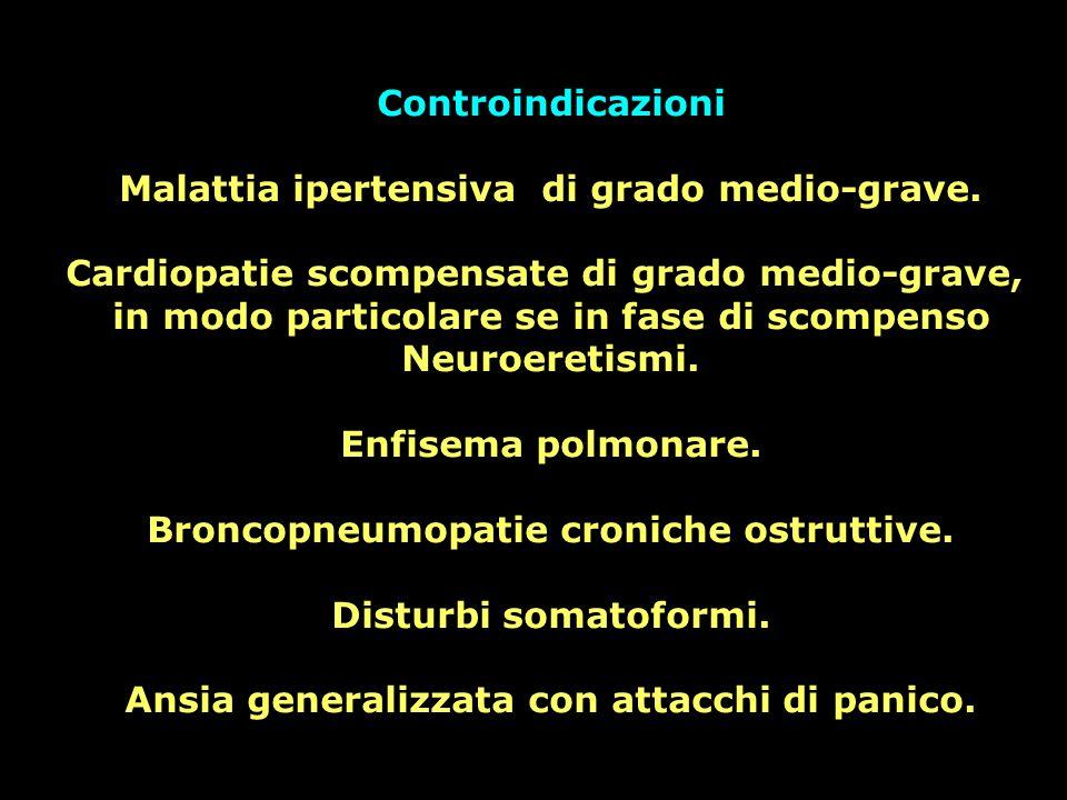 Controindicazioni Malattia ipertensiva di grado medio-grave. Cardiopatie scompensate di grado medio-grave, in modo particolare se in fase di scompenso