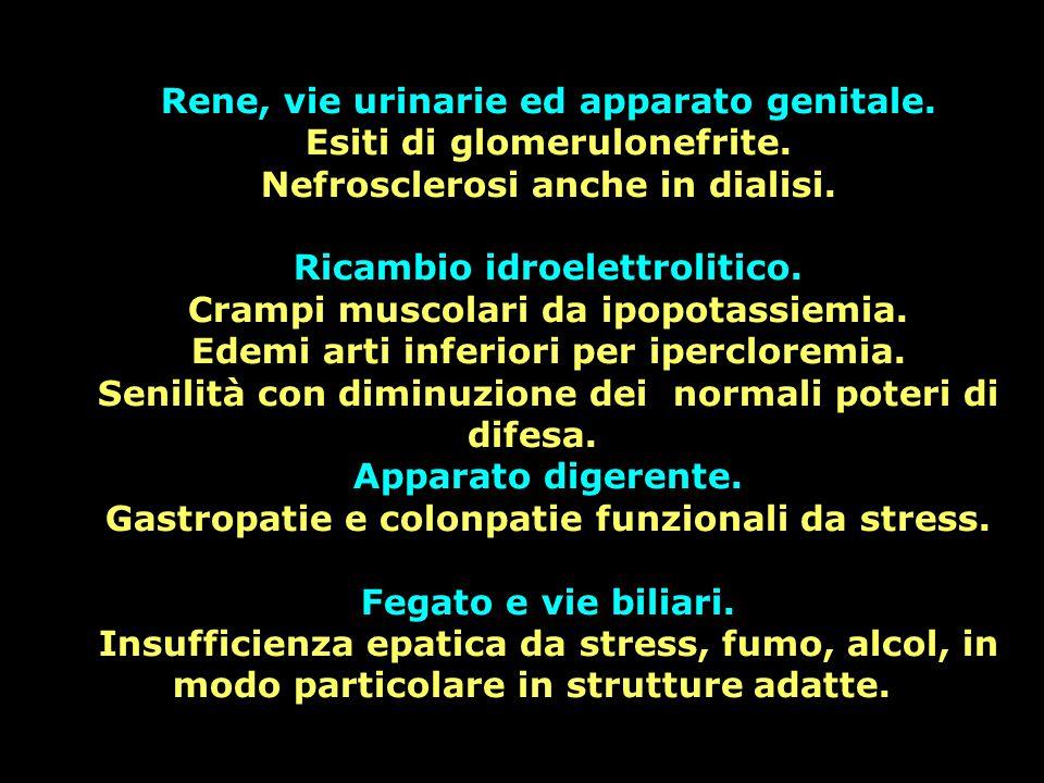 Rene, vie urinarie ed apparato genitale. Esiti di glomerulonefrite. Nefrosclerosi anche in dialisi. Ricambio idroelettrolitico. Crampi muscolari da ip