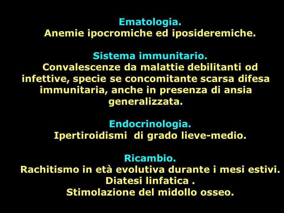 Ematologia. Anemie ipocromiche ed iposideremiche. Sistema immunitario. Convalescenze da malattie debilitanti od infettive, specie se concomitante scar