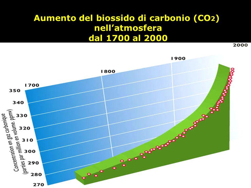 Aumento del biossido di carbonio (CO 2 ) nell'atmosfera dal 1700 al 2000