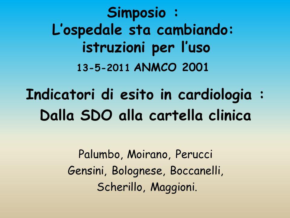 Simposio : L'ospedale sta cambiando: istruzioni per l'uso 13-5-2011 ANMCO 2001 Indicatori di esito in cardiologia : Dalla SDO alla cartella clinica Palumbo, Moirano, Perucci Gensini, Bolognese, Boccanelli, Scherillo, Maggioni.