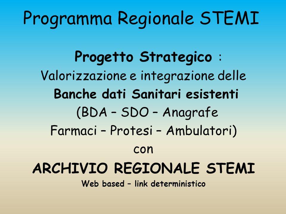 Programma Regionale STEMI Progetto Strategico : Valorizzazione e integrazione delle Banche dati Sanitari esistenti (BDA – SDO – Anagrafe Farmaci – Protesi – Ambulatori) con ARCHIVIO REGIONALE STEMI Web based – link deterministico