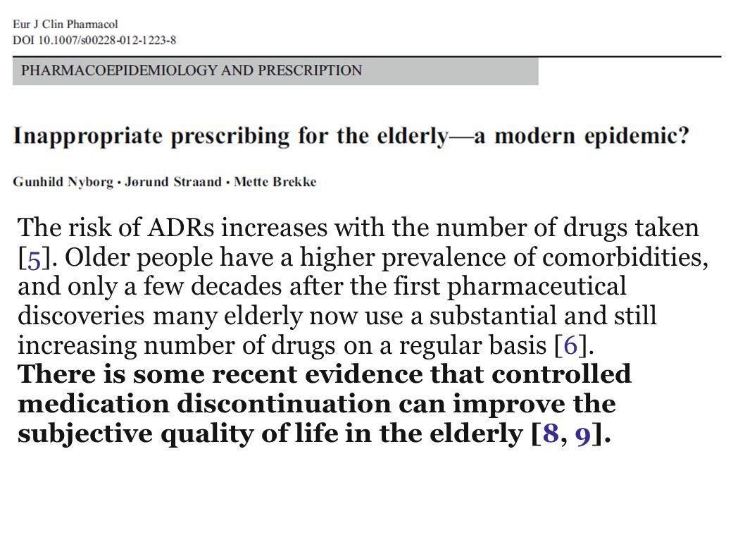 Geriatri ospedalieri vs geriatri territoriali Farmaci da sospenderePravastatina (93.3)Oxazepam(100) (i 7 vizi capitali)Gliclazide(73.3)Sertralina(85.7) Numero medio sosp.:Setralina(73.3)Pravastatina(71.4) Totale 7.3Alendronato (73.3)Omeprazolo(71.4) H7.3Digossina(66.7)Movicol(71.4) T7.3Spironolatt.(53.3)Spironolattone(57.1) Omeprazolo (46.7)Digossina(57.1) Farmaci da confermareCarvedilolo(100)Perindopril(85.7) (i magnifici 7)Colecalcifer(93.3)Carvedilolo(71.4) Totale7.2Furosemide(93.3)Furosemide(57.1) H7.3Perindopril(53.3)Isosorbide(57.1) T7.0Isosorbide(46.7)Warfarin(57.1) Movicol(46.7)Carbid/Bens(57.1) Carbid/Bens(40.0)Colecalciferolo(42.9) I dubbi amleticiParac/Cod(60.0)Donepezil(71.4) Isosorbide(46.7)Spironolattone(42.9) Oxazepam(46.7)Warfarin(42.9) HT
