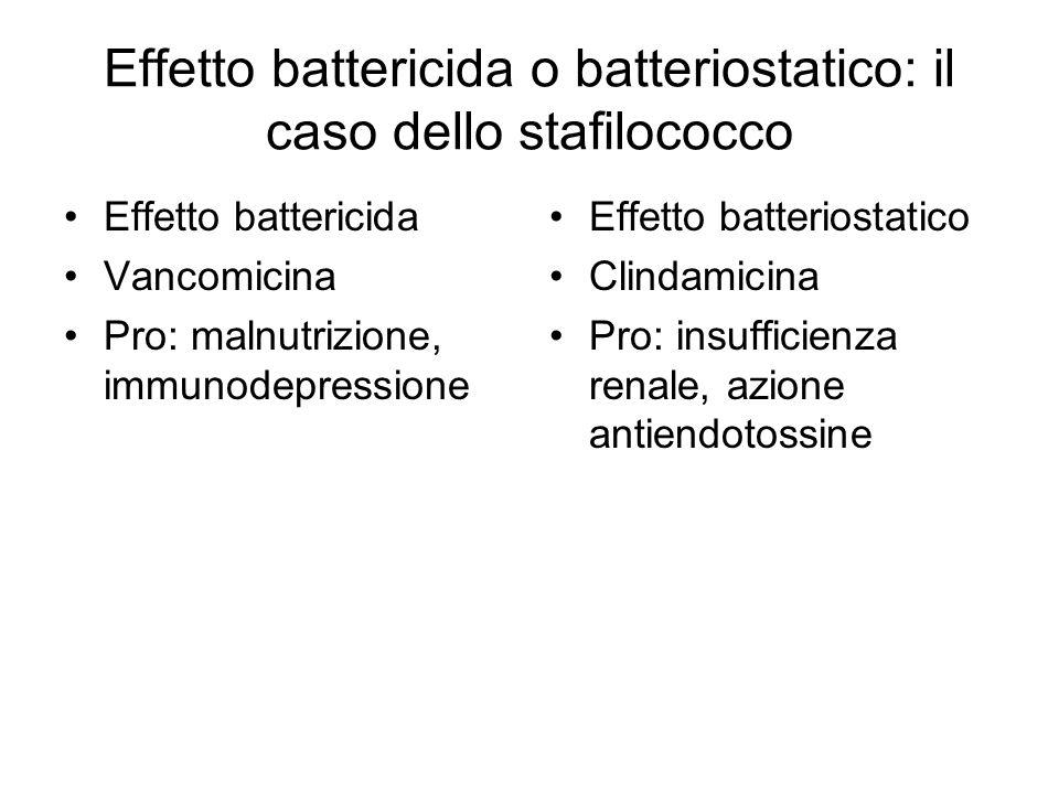 Effetto battericida o batteriostatico: il caso dello stafilococco Effetto battericida Vancomicina Pro: malnutrizione, immunodepressione Effetto batter