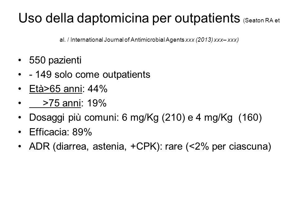 Uso della daptomicina per outpatients (Seaton RA et al. / International Journal of Antimicrobial Agents xxx (2013) xxx– xxx) 550 pazienti - 149 solo c