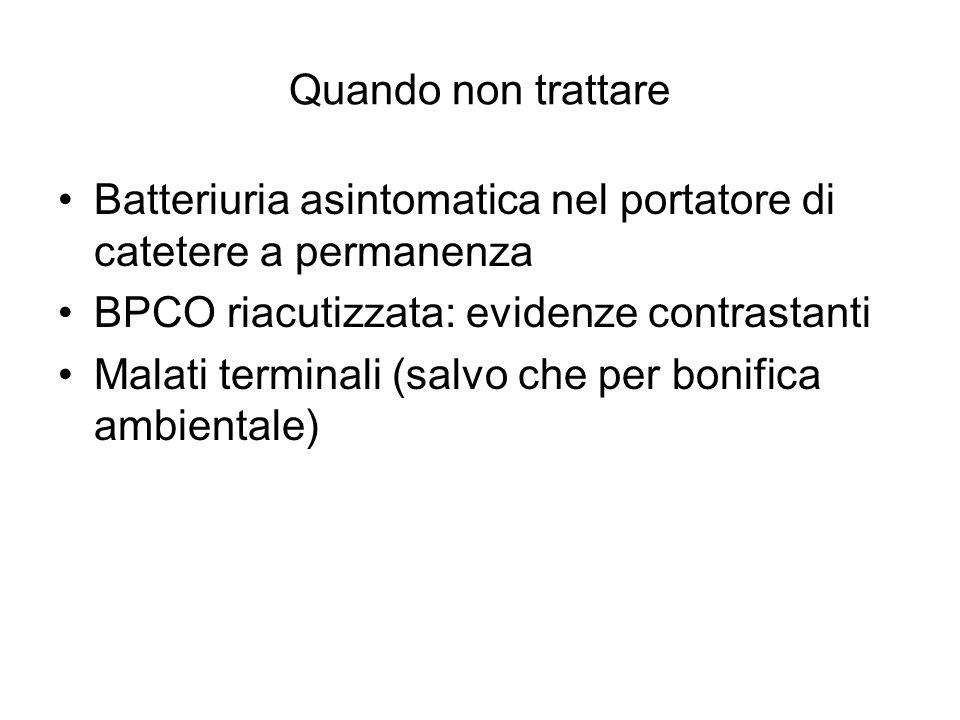 Quando non trattare Batteriuria asintomatica nel portatore di catetere a permanenza BPCO riacutizzata: evidenze contrastanti Malati terminali (salvo c