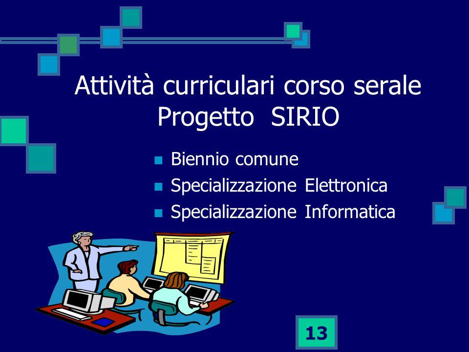 13 Attività curriculari corso serale Progetto SIRIO Biennio comune Specializzazione Elettronica Specializzazione Informatica