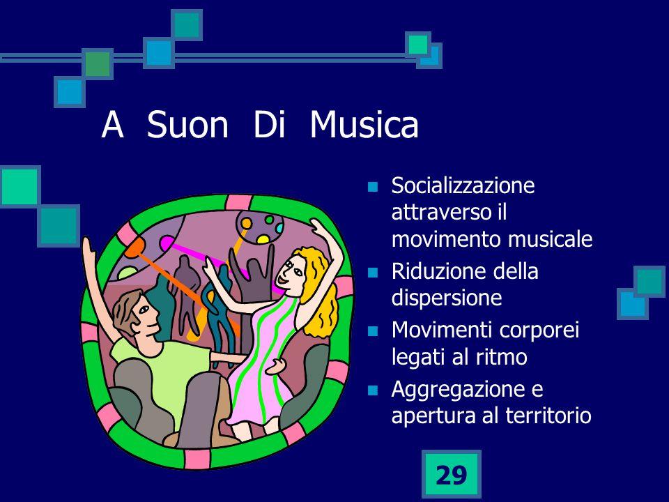 29 A Suon Di Musica Socializzazione attraverso il movimento musicale Riduzione della dispersione Movimenti corporei legati al ritmo Aggregazione e apertura al territorio